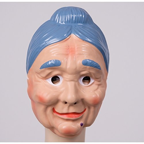 NET TOYS Oma Maske mit Blauen Haaren Fesche Großmutter Gesichtsmaske Alte Frau Maske Omamaske Grandma Faschingsmaske Karnevalsmaske Faschingsmaske