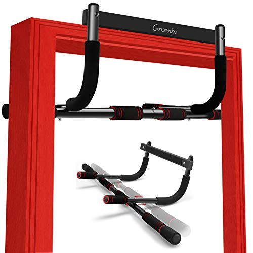 Greenke Pull up Bar for Doorway, Portable Pullup Chin up Bar No Screws, Multi-Grip Strength Training for Home Workout