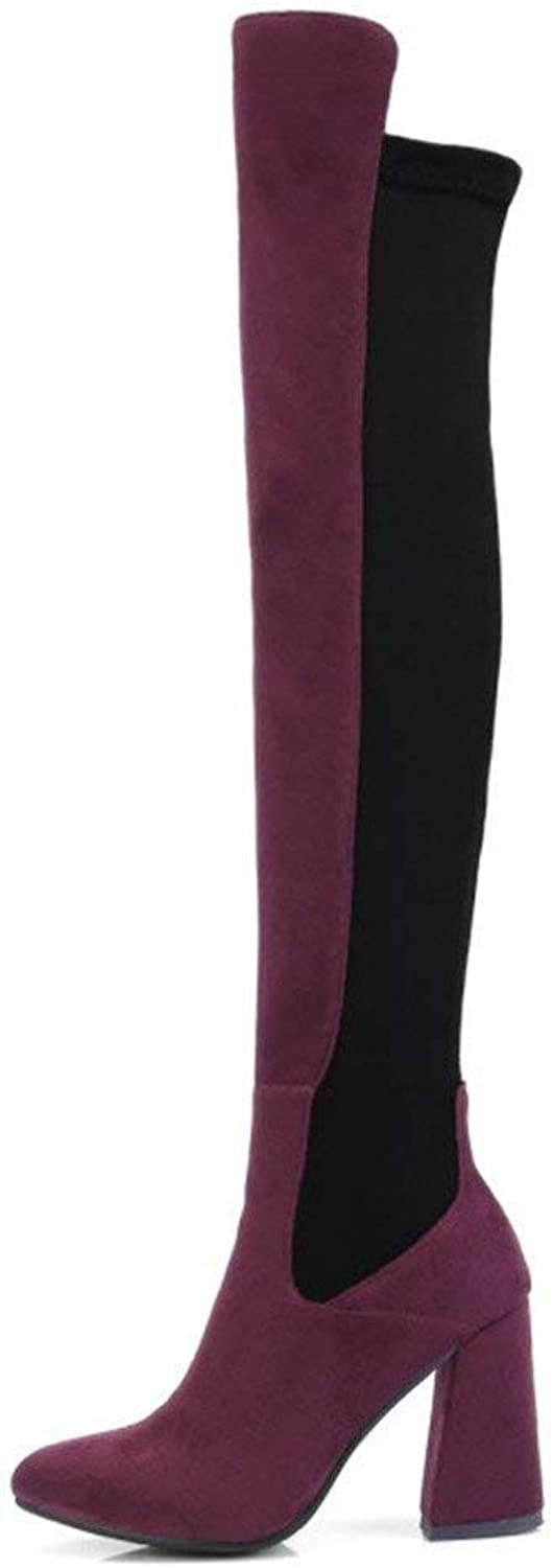Women's Chunky Heel Stretch Suede+Fabric Over The Knee Thigh High Boots