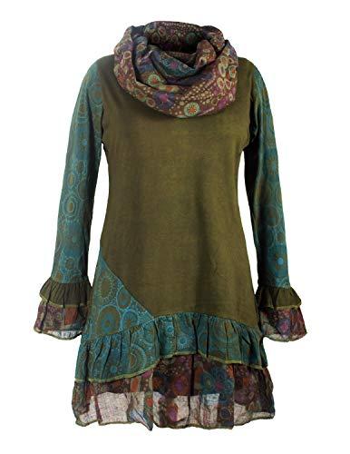 Vishes - Alternative Bekleidung - Damen Langarm Mandala Rüschen-Kleid mit Kapuzenschal Olive 46