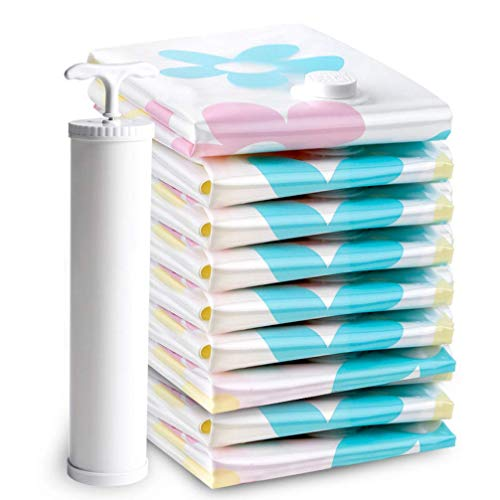 XHNXHN 10Pcs Vacuum Storage Bags, Space Saver Reusable Bags with Travel Hand Pump for Bedding, Pillows, Clothes, Quilts, Dresses, Suitcases, Towels(100x75cm*3, 70x50c *2, 60x40cm*3, 50x40cm*2)
