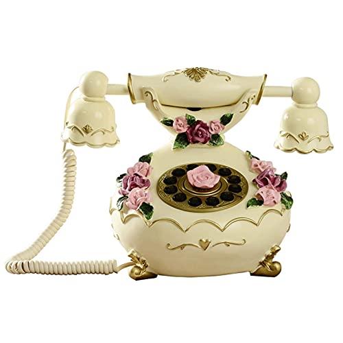 ADSE Teléfono Retro de Estilo Europeo, teléfono con Roseta doméstica con Cable, teléfono clásico de Alivio estéreo de línea Fija Antigua Europea y Americana