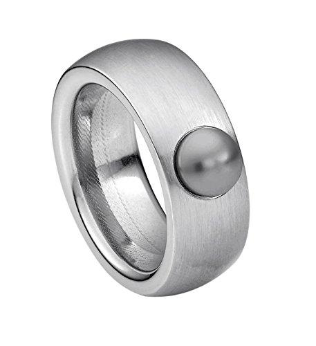 Heideman Ring Damen aus Edelstahl Silber farbend matt Damenring für Frauen mit Swarovski Perle grau Cabochon 6mm