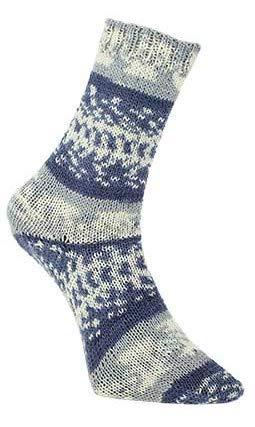 Unbekannt Pro Lana Fjord Socks 4-fädig Color 191 blau grau Natur, Sockenwolle Norwegermuster musterbildend