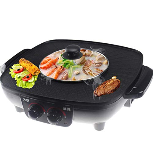 WJJJ BBQ Hot Pot Electric Cooker Pot Double Control Roasting One-Pot Multi-Function Electric Grill Oven Baking Pan Black
