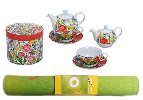 Trendstern Trendprodukteshop Tea for One Blumen Teekannen Set + Geschenkkarton + Platzdeckchen Heut ist EIN schöner Tag