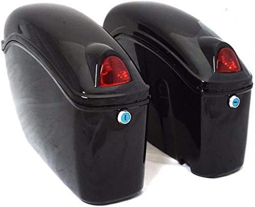 Universal Hard Saddle Bags Trunk Luggage W/Lights Mount Bracket Motorcycle For Yamaha Cruiser Black