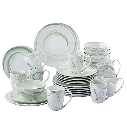 vancasso, série Claudia, Service de Table Porcelaine Marbre, Service Vaiselle Complet 32 Pièces pour 8 Personnes, Assiette Plate Creuse, Bols Céréales, Tasse