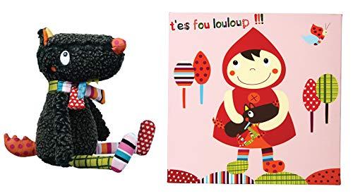 EBULOBO - PACK Doudou Mr Louloup + Tableau Chaperon Rouge - Dès la Naissance - Création Française - Doudou Lavable Machine 30°