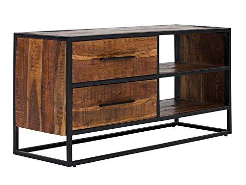 Massivum Oklahoma TV-Bank, 2-Schub, Akazie / Holz, dunkel braun, 40 x 120 x 60 cm
