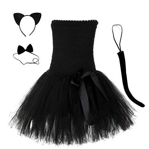Disfraz de gato negro con tutú para niñas, vestido de princesa, cosplay, tutú, malla de tul con volantes, vestidos de fiesta de Halloween (XL (7-8 años))