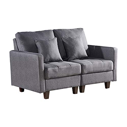 BonChoice 2 Seater Sofa Grey for Living Room, Loveseat Sofa with Armrest for Small Space, Comfoy Fabric Sofa Couch Double Seater Corner Sofa Padded Settee for Bedroom Guest Room Office Apartment