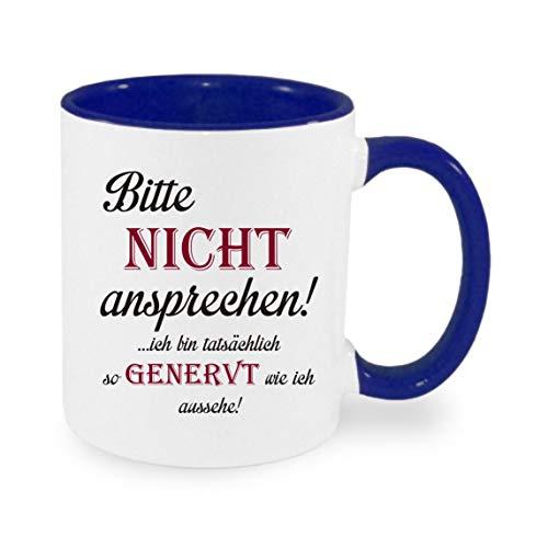 Crealuxe Bitte Nicht ansprechen - ich Bin tatsächlich so genervt wie ich aussehe - Kaffeetasse mit Motiv, Bedruckte Tasse mit Sprüchen oder Bildern