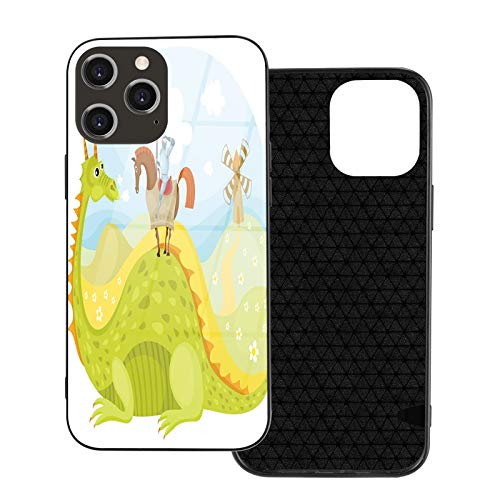 Compatible with iPhone 12 pro max case,Fantasy,Knight Don Quixote with Horse on Dragon Valley Medieval Fairytale Image,Fruits Green Sky Blue.Shockproof [Full Body Protection] (6.7 inch)