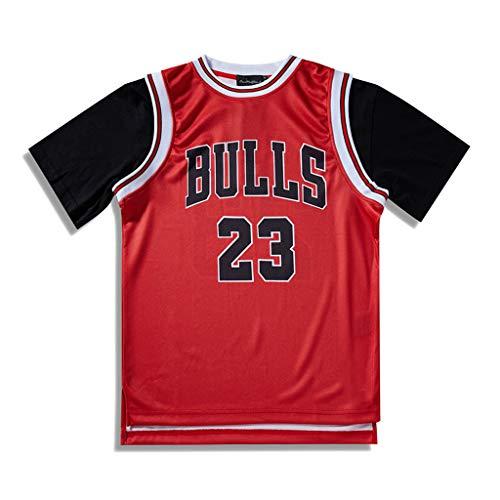 Chicago Bulls lässige Kurzarm T-Shirt Männer Retro Jersey Jordan #23 Unisex T-Shirts, Basketball Sport Stitching gefälscht zwei Stücke T Shirts Tops