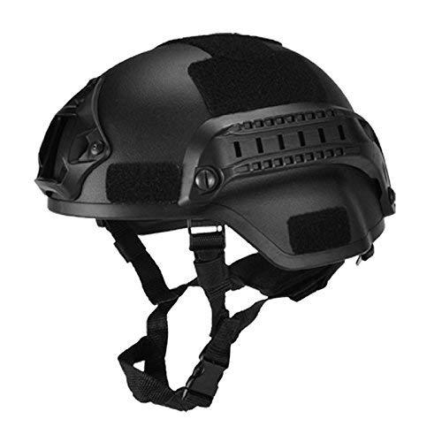 ASOSMOS Militär Taktisch Helm Airsoft Gear Paintball Kopf Schutz mit Nachtsicht Sport Kamera Halterung - Schwarz