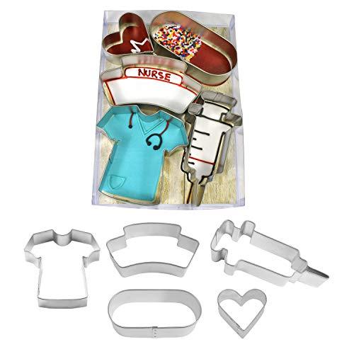 R & M International Nurse Cookie Cutter Set of 5, One Size, Silver