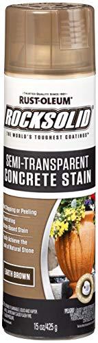 Rust-Oleum 247162 RockSolid Semi-Transparent Concrete Stain Spray, 15 oz, Earth Brown
