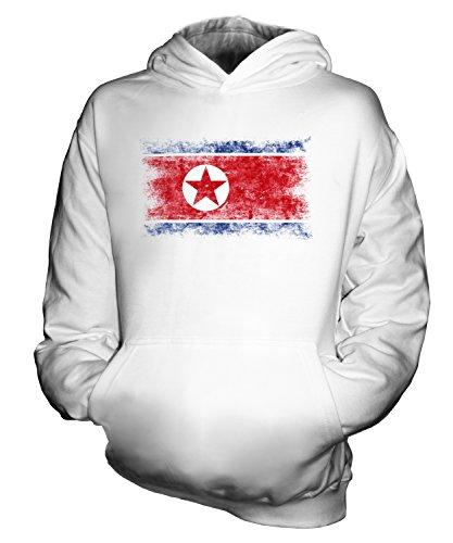Candymix Corée du Nord Drapeau Délavé Unisexe Sweat-Shirt à Capuche Enfant Garçon Fille, Taille 12-13 Ans, Couleur Blanc