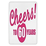 BagsPillow Bathroom Bath Rug Kitchen Floor Mat Carpet,60th Birthday Decorations,Drinking Party Theme with Happy Cheers Quote Art Print,Hot Pink and White,Flannel Microfiber Non-Slip Soft Absorbent