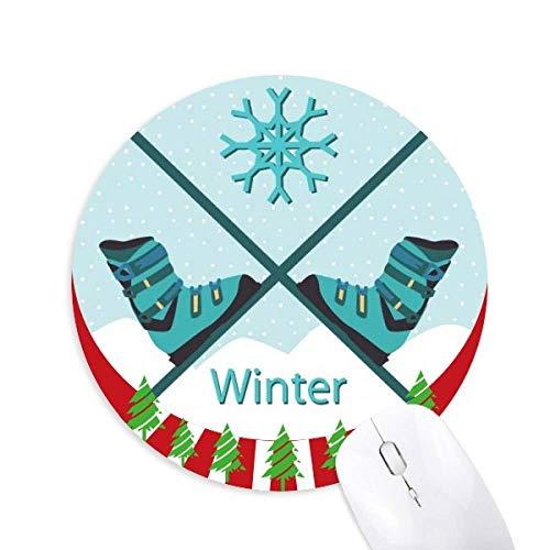 Sport Skischuhe Wasserfarbe Muster Rund Gummi Maus Pad Weihnachtsdekoration