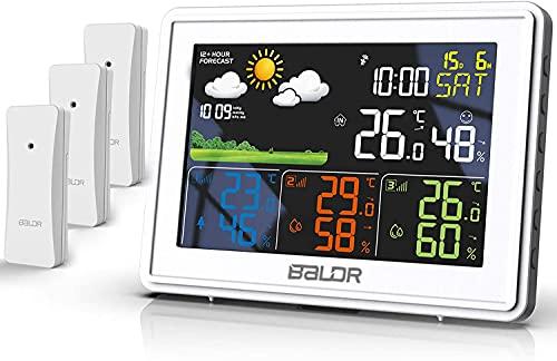 BALDR Wetterstation Funk mit 3 Außensensor Indoor Outdoor Thermometer Hygrometer mit Wettervorhersage, DCF Farbwetterstation, Wecker, Uhrzeitanzeige (Weiß)