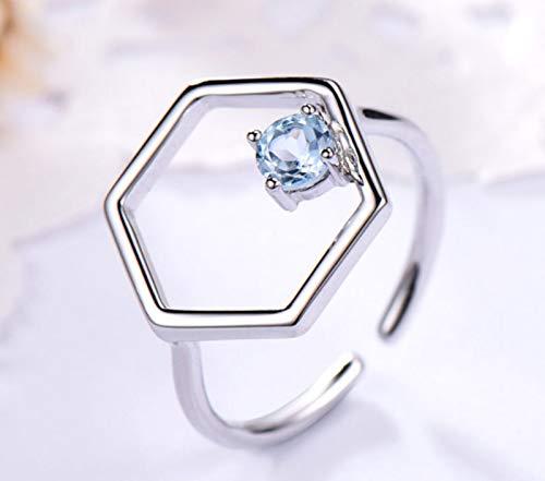 XIRENZHANG Anillo abierto de plata de ley 925 con topacio azul cielo, piedra preciosa, anillo de plata ajustable, anillo de mujer azul