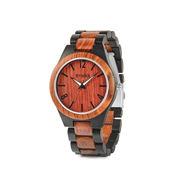 Mens Wooden Watches, Bymax Natural Handmade Wood Watch Analog Japanese Quartz Wrist Watch with Gift Box