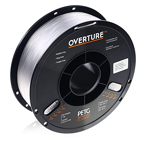 OVERTURE Transparent Filament Clear PETG Filament 1.75mm, PETG Transparent 3D Printer Consumables, 1kg Spool (2.2lbs), Dimensional Accuracy +/- 0.05 mm