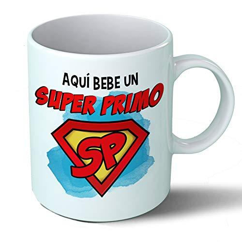 Planetacase Taza Primo - Aquí Bebe Un Super Primo - Regalo Original Primos Superprimo Familia Taza Desayuno Café Ceramica 330 mL