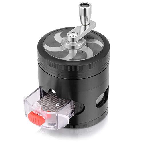 Huante triturador de hierbas, diseño de manivela de calidad superior, volumen más elevado, 3 cámaras de separación que contienen un cajón y un separador de polvo.