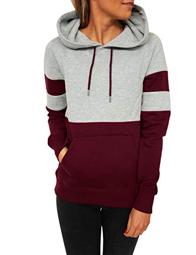 Blooming Jelly Women's Long Sleeve Hoodie Fashion Pullover Sweatshirt Patchwork Striped Jumper with Kanga Pocket Medium Wine Red