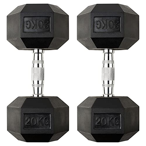 DTX Fitness 2x 20kg Rubber Dumbbell Hex Weights