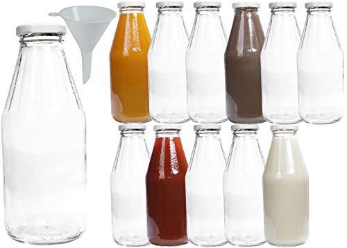 mikken 12 x Glasflasche 500 ml, Flasche mit Schraubverschluss Weiss inkl. Trichter