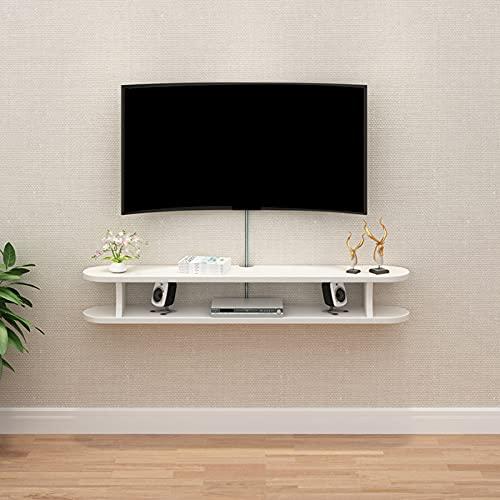 Estante flotante para TV Estante de madera para mueble de TV Consola multimedia moderna montada en la pared para decodificador Caja de cable Estante de almacenamiento colgante - Estantes flotantes