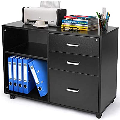 TUSY File Cabinets with Lock, 3 Drawer Mobile Lateral Filing Cabinet, Printer Stand with Open Storage Shelves and Rolling Wheels for Home Office, Black