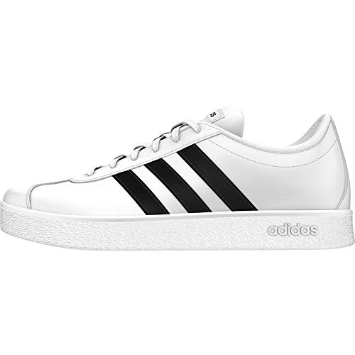 Adidas VL Court 2.0 K, Zapatillas Unisex Niños, Blanco (Footwear White/Core Black/Footwear White 0), 35 EU