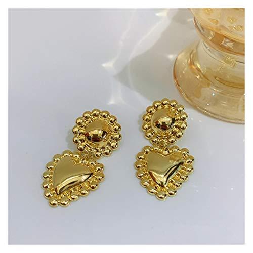 Vintage Baroque Pearl Love Drop Earrings Women Girls Party Travel Jewelry Golden Metal Geometric Earrings (Color : 15)