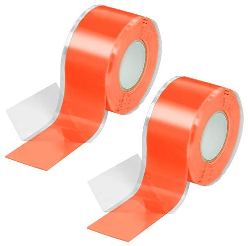 Poppstar 2x 3m selbstverschweißendes Silikonband, Silikon Tape Reparaturband, Isolierband und Dichtungsband (Wasser, Luft), 25mm breit, orange