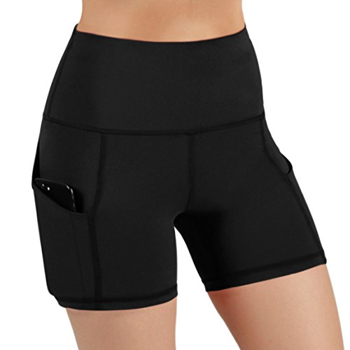 ODODOS High Waist Out Pocket Yoga Short Tummy Control Workout Running Athletic Non See-Through Yoga Shorts,Black,X-Large