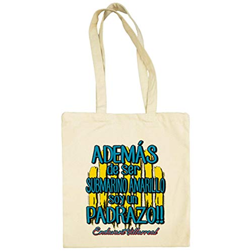 Bolsa de tela además de ser Submarino Amarillo soy un padrazo para aficionado al fútbol de Villarreal - Beige, 38 x 42 cm