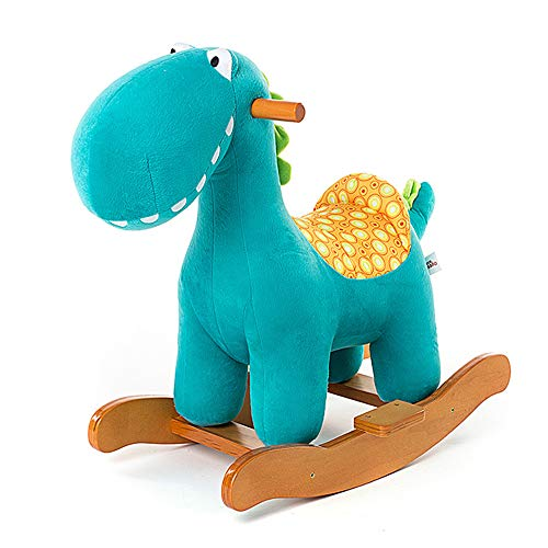 BAIDEFENG Wooden Plush Rocker, Baby Rocking Horse Toy Dinosaur with Baby Riding Horse Toddler Outdoor/Indoor Rocker Animal Chair