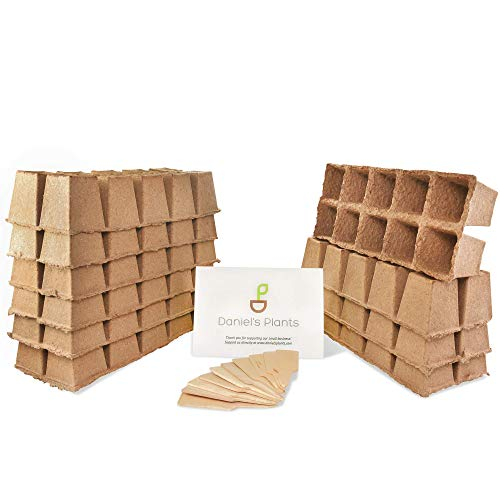 Daniels Plants Plantable Seed Starter Tray - 10 Seedling Trays | 100 Peat Pots | Biodegradable Compostable Planting Pots | Peat Pots for Seedlings Seed Starter Tray | Bonus 10 Wooden Plant Labels