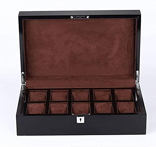 Uhrenschatulle, Schmuckkästchen, schwarzes Holz, aufklappbar, 37,5 x 23 cm, 5 x 10,5 cm, braunes Flanell-Braun-Biber