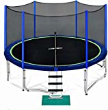 Zupapa 15 14 12 10 8FT Trampoline for Kids with Safety Enclosure Net 425LBS Weight Capacity Outdoor Backyards Trampolines with Non-Slip Ladder All Accessories for Children Adults Family