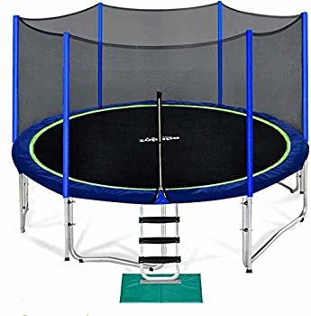 Zupapa 15 14 12 10 8FT Trampoline for Kids with Safety Enclosure Net 425LBS Weight Capacity Outdoor Backyards Trampolines with Non-Slip Ladder All Accessories for Children Adults Family 15FT Blue