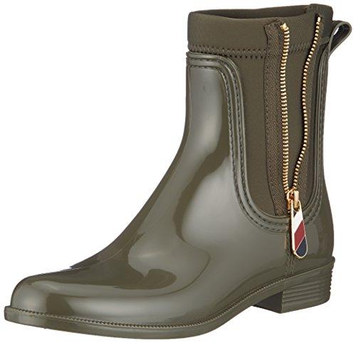 Tommy Hilfiger Damen Material Mix RAIN Boot Gummistiefel, Grün (Military 302), 40 EU