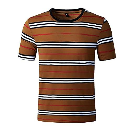 Shirt Hombre Estampado De Rayas Básico Transpirable Cuello Redondo Hombres Shirt Ocio Verano Slim Fit T-Shirt Moderna Manga Corta Cómoda Moda Negocio Urbano Hombre Playa Shirt A-Brown XL