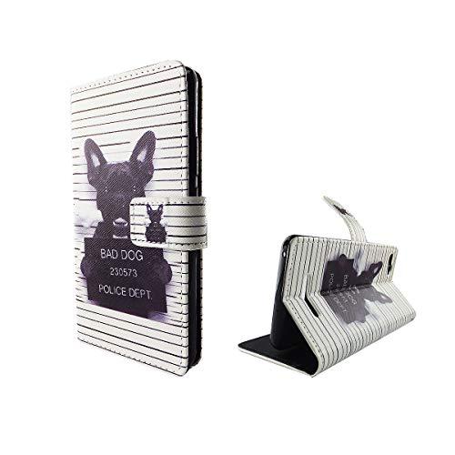 König Design Handyhülle Kompatibel mit Wiko Lenny 2 Handytasche Schutzhülle Tasche Flip Hülle mit Kreditkartenfächern - Bulldogge Weiß