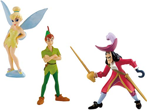 Bullyland Dispney Peter Pan - Set 3 Figures Hook Tinkerbell Pan 8 - 10 cm